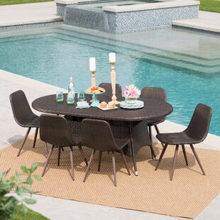 Bice Outdoor Wicker 7 Piece Dining Set
