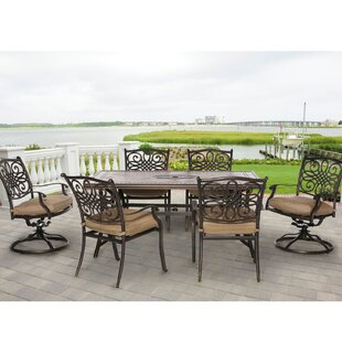 Fleur De Lis Living Carlee 7 Piece Dining Set with Cushion