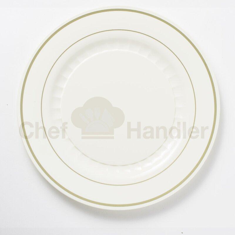 Mystique 960 Piece Heavy Plastic Plate Set & Gold Trim Plastic Plates | Wayfair