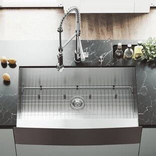 36 L x 23 W Farmhouse Kitchen Sink with Faucet, Grid, Strainer and Soap Dispenser by VIGO