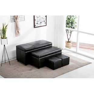 Hallam Classical 4 Piece Folding Storage Ottoman Set