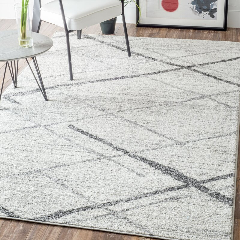 Azha Broken Polypropylene Light Gray Area Rug