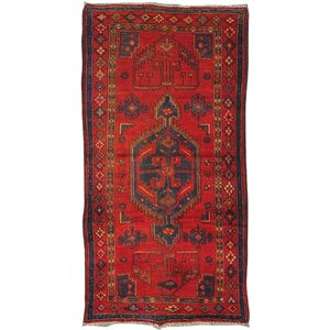 Moud Vintage Lamb's Wool Hand-Knotted Red Area Rug