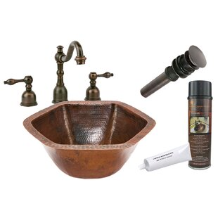 Premier Copper Products Hammered Specialty Metal Specialty Undermount Bathroom Sink with Faucet