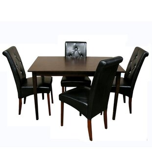 Rosette 5 Piece Solid Wood Dining Set by Winston Porter 2019 Sale