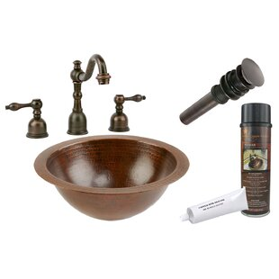Premier Copper Products Hammered Metal Circular Undermount Bathroom Sink with Faucet