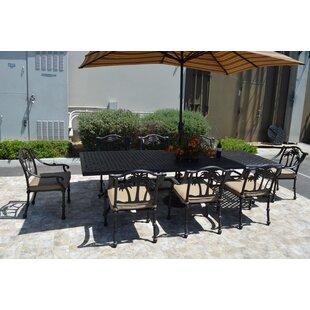 Bayou Breeze Maccharles 9 Piece Dining Set with Cushions