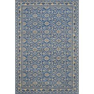 Genuine Handwoven Wool Royal Blue Area Rug