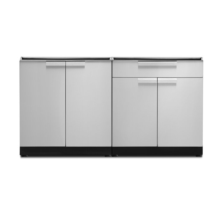 Stainless Steel 2-Piece Free Standing Modular Outdoor Kitchen Cabinets