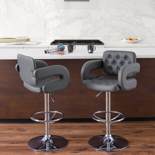 Quimir Adjustable Height Swivel Bar Stool Brayden Studio