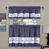Blue Check Plaid Valances Kitchen
