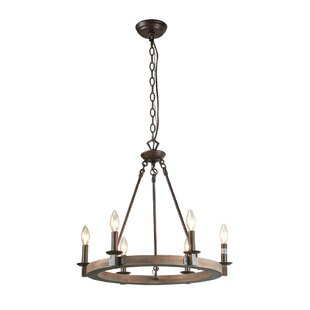 Gracie Oaks Flavio 6-Light Wagon Wheel Chandelier