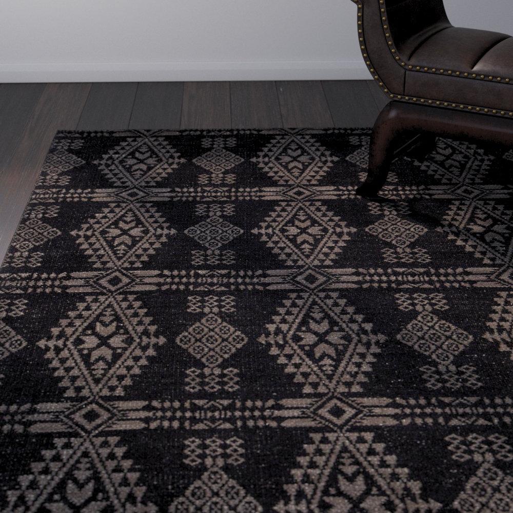 Bloomsbury Market Daria Hand Woven Wool Black Beige Area Rug Wayfair