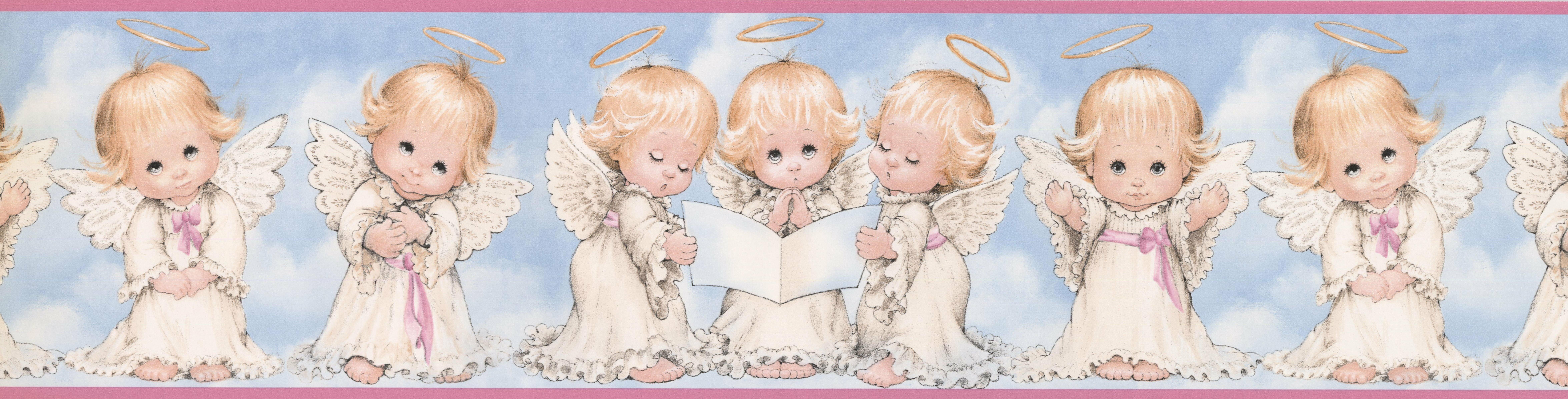 retroart angel kids baby 15' x 6.25'' wallpaper border | wayfair.ca