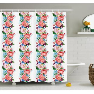 Flower Picturesque Bouquet with Mix Daisy Wild Flower and Honeysuckles Vintage Illustration Shower Curtain Set