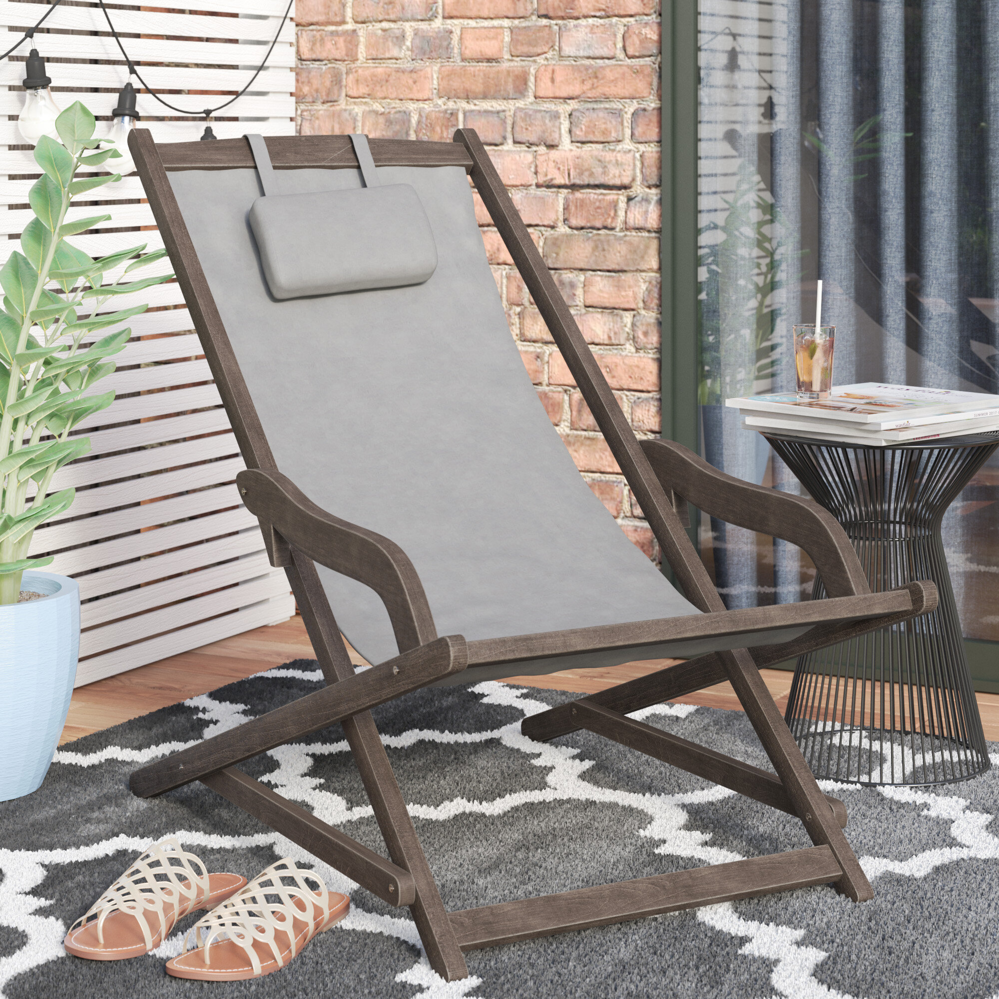 Mistana Tardiff Outdoor Wood And Canvas Sling Arm Chair Reviews Wayfair