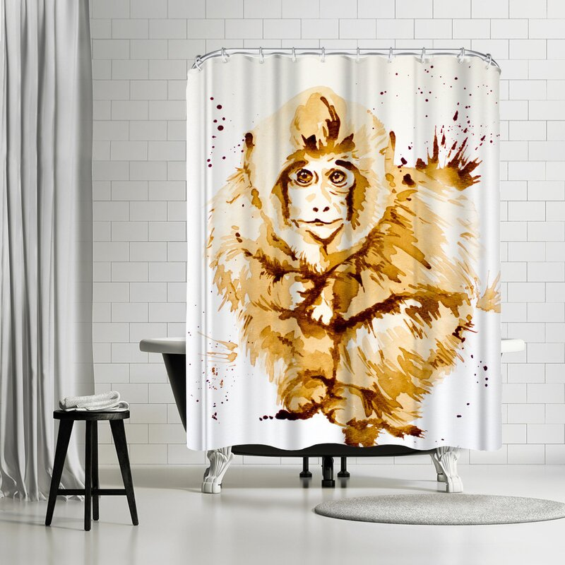 Allison Gray Coffee Monkey Shower Curtain