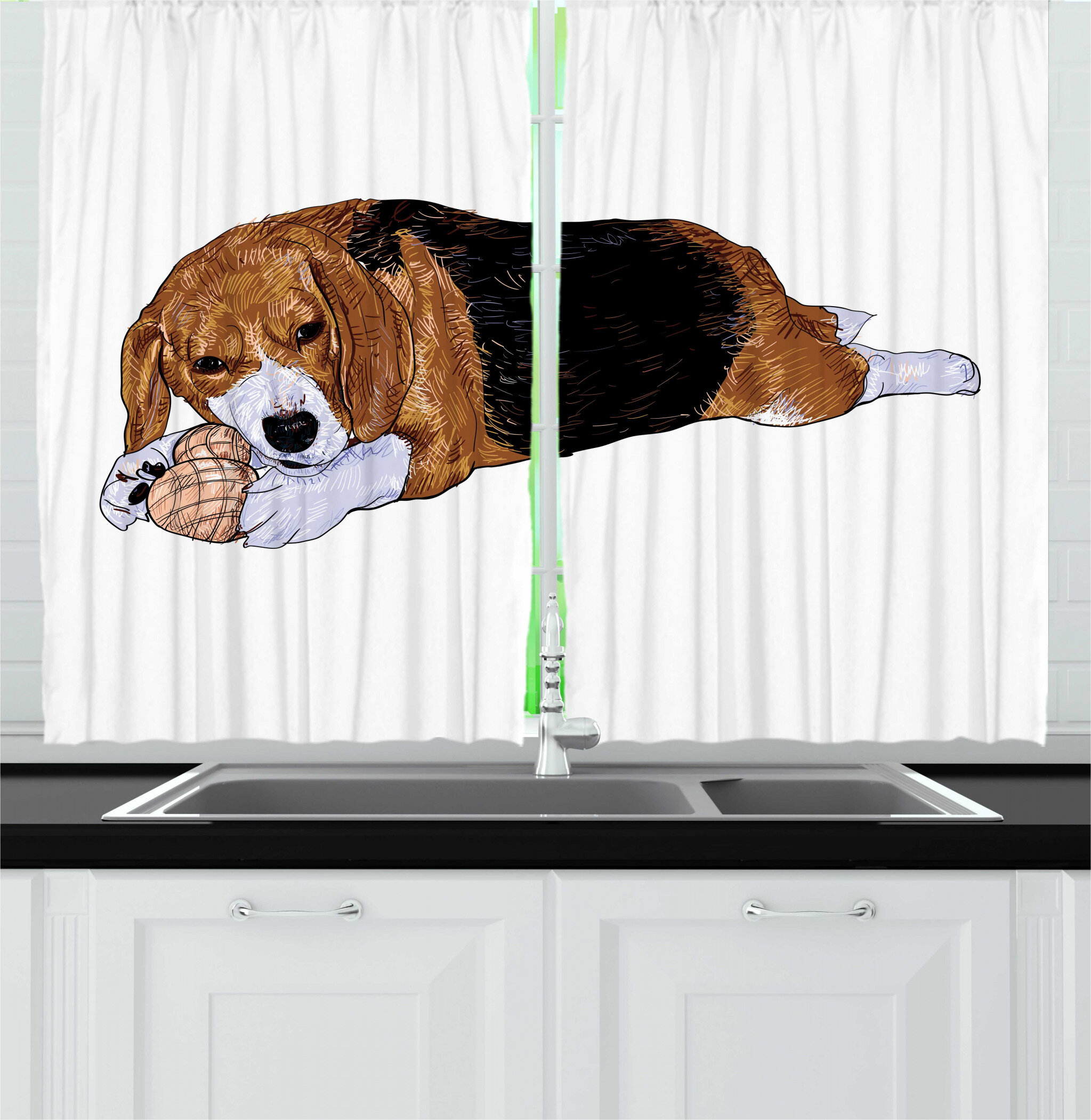 East Urban Home 2 Piece Beagle Dog With Toy Play Time Animal Sketch On Plain Background Kitchen Curtain Set Wayfair