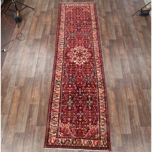 Isabelline One Of A Kind Longwell Hand Knotted Red Burgundy Blue 3 10 X 14 1 Runner Wool Area Rug Wayfair
