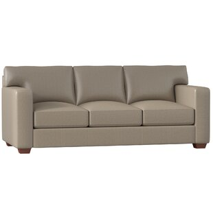 Distressed Leather Sofa Gray | Wayfair