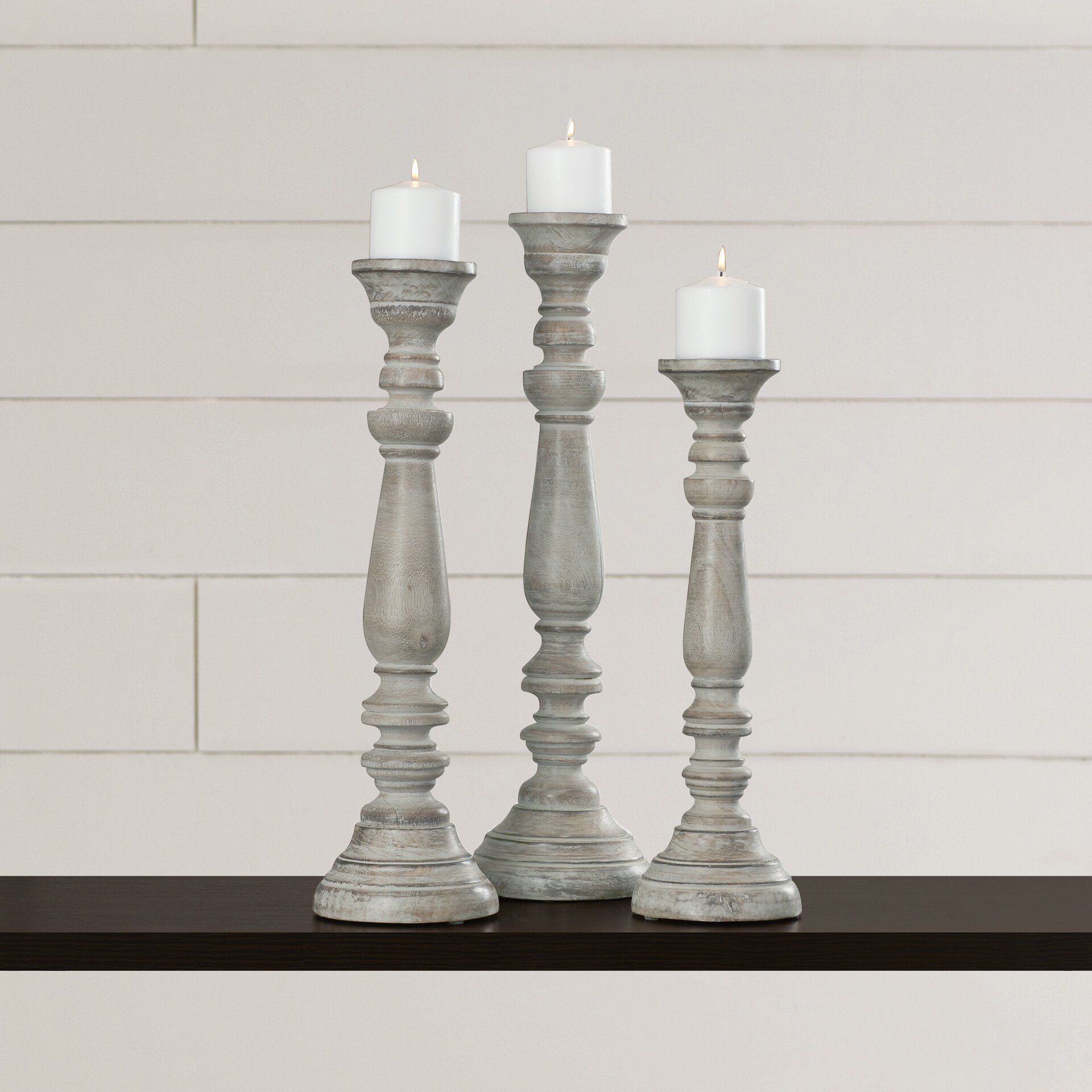 One Allium Way 3 Piece La Sarre Tall Wood Candlestick Set Reviews Wayfair
