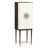 Crackle Cloth Lacquered Bar Cabinet by Jonathan Charles Fine Furniture