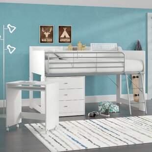 Alcester Twin Low Loft Bed With Desk and Storage By Mack & Milo