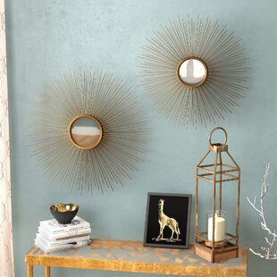 Melora Sunburst Round Metal Wall Mirror (Set of 2) By Willa Arlo Interiors