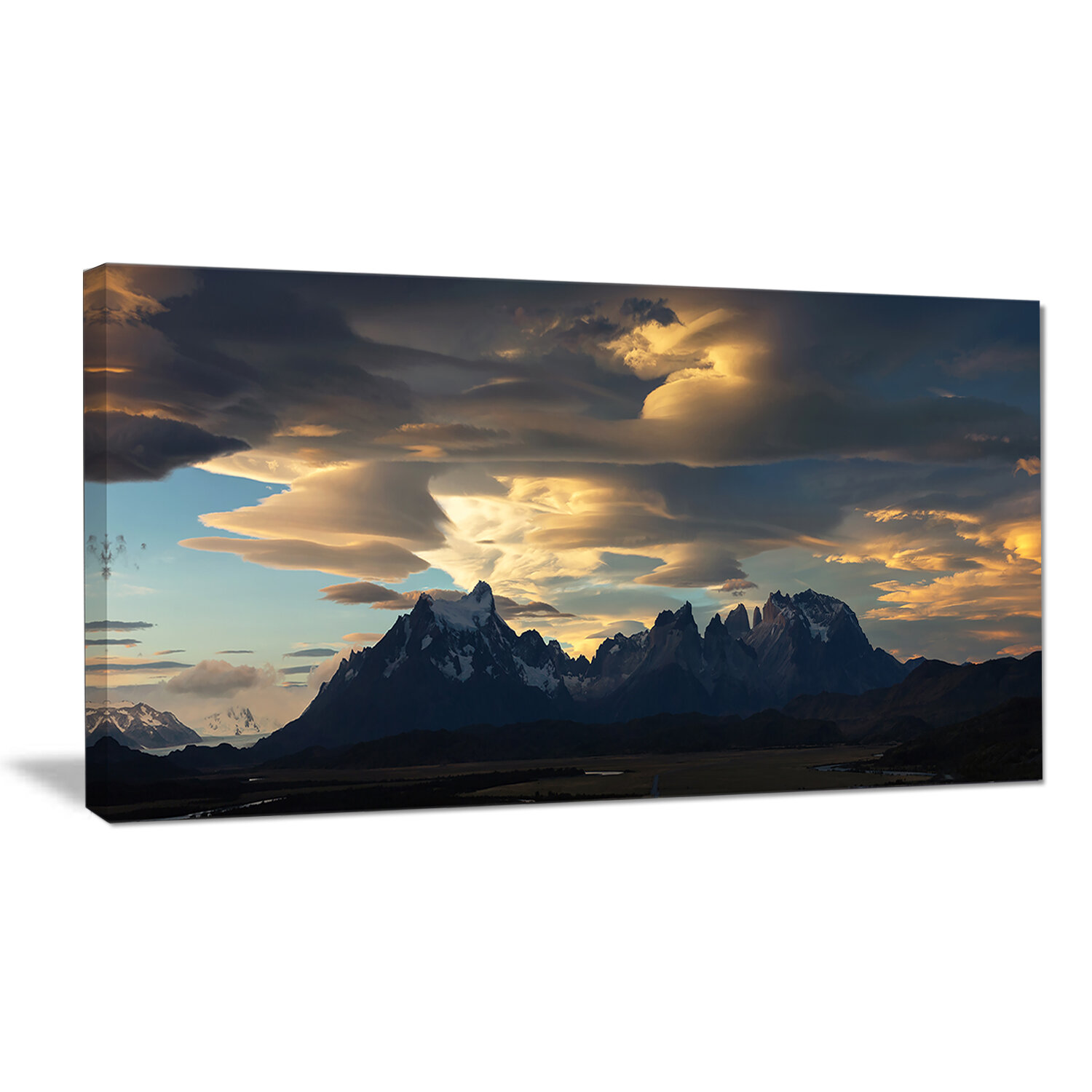 Designart Torres Del Paine National Park Photographic Print On Wrapped Canvas In Blue Wayfair