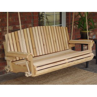 Freya Cedar Fan Back Rope Porch Swing