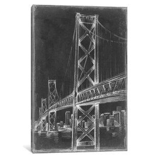 Suspension Bridge Blueprint Ii Graphic Art Print On Canvas
