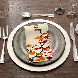 Square Maple Hues Flower Print Napkin by The Holiday Aisle
