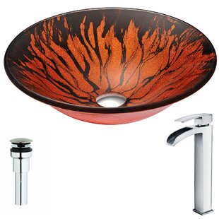 Forte Glass Circular Vessel Bathroom Sink with Faucet ANZZI