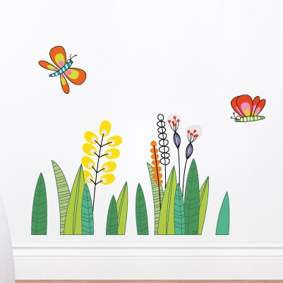 harriet bee butterflies in the grass wall decal & reviews | wayfair