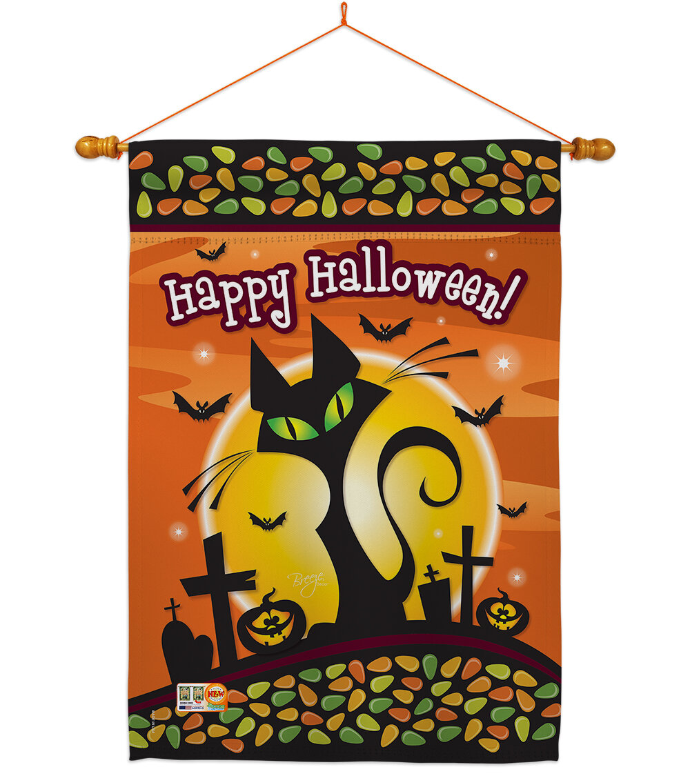 Breeze Decor Halloween Cat 2 Sided Polyester 40 X 28 In Flag Set Wayfair