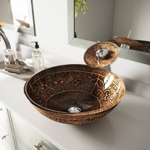 VIGO Golden Greek Glass Circular Vessel Bathroom Sink