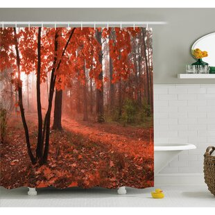 Buying Fall Misty Forest with Leaves from Deciduous Trees Warm to Cold Featured Image Shower Curtain Set ByAmbesonne