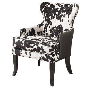 Faux Cowhide Accent Wingback Chair by !nspire