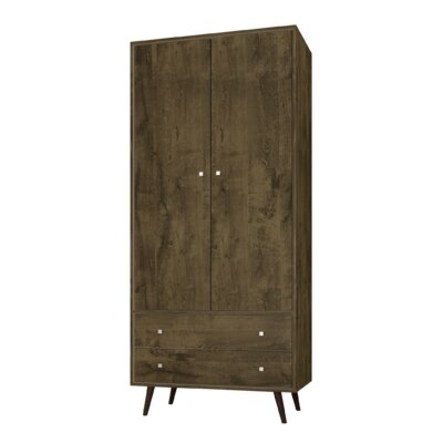 George Oliver Jabari Mid Century Modern Armoire Color: Rustic Brown