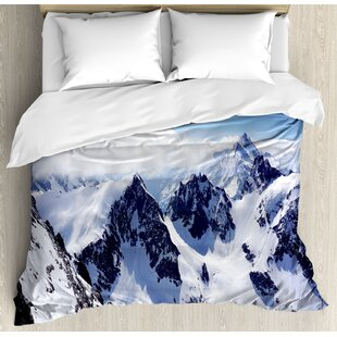 East Urban Home Snowy Mountain Peaks Tops High Lands Northern Scenic Alps Panorama Valley Duvet Set