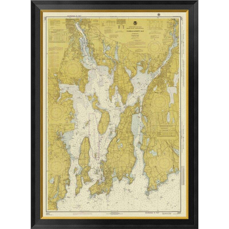 Global Gallery Nautical Chart Narragansett Bay Ca 1975 Sepia Tinted Framed Graphic Art On Canvas Wayfair