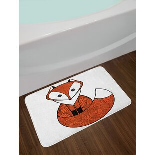 Inexpensive Fox Cartoon Young Character with Spiral Patterns Cute Friendly Charming Non-Slip Plush Bath Rug By East Urban Home