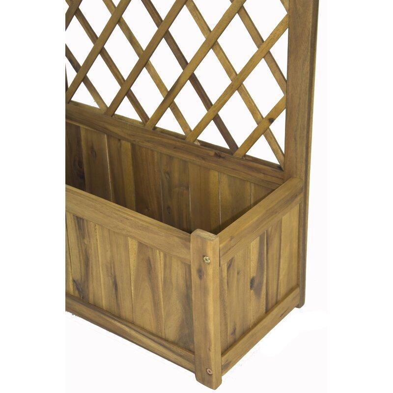 Pine Lake Wood Planter Box With Lattice Panel Trellis