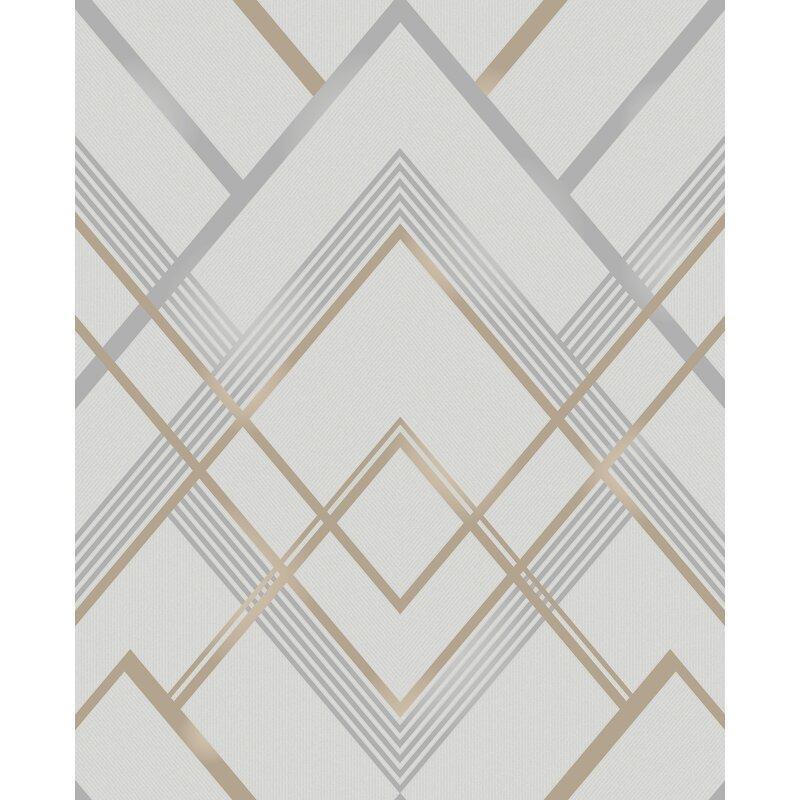 """Calliope Geometric 33' L x 20.5"""" W Wallpaper Roll"""