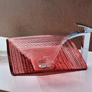 Ritmo Glass Square Vessel Bathroom Sink ANZZI