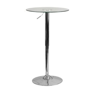 Orren Ellis Coolidge Round Adjustable 33.5'' Height Glass Dining Table