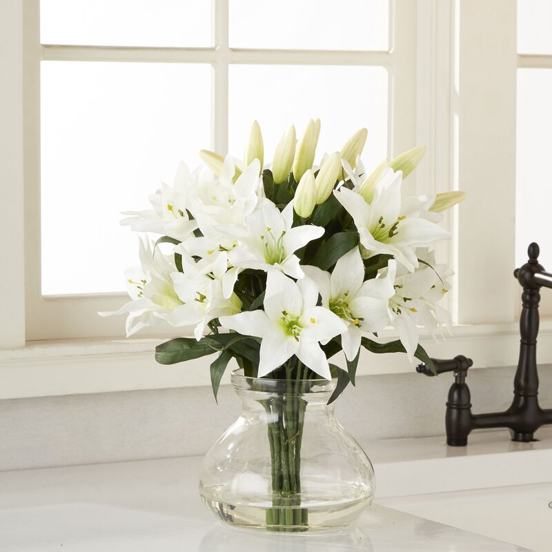 Nearly Natural Large Lily Arrangement In Vase Reviews Wayfair