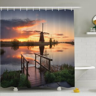 Nature Dutch Windmill River Shower Curtain Set