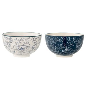 2 Piece Ceramic Fleur Bowl Set (Set of 2)