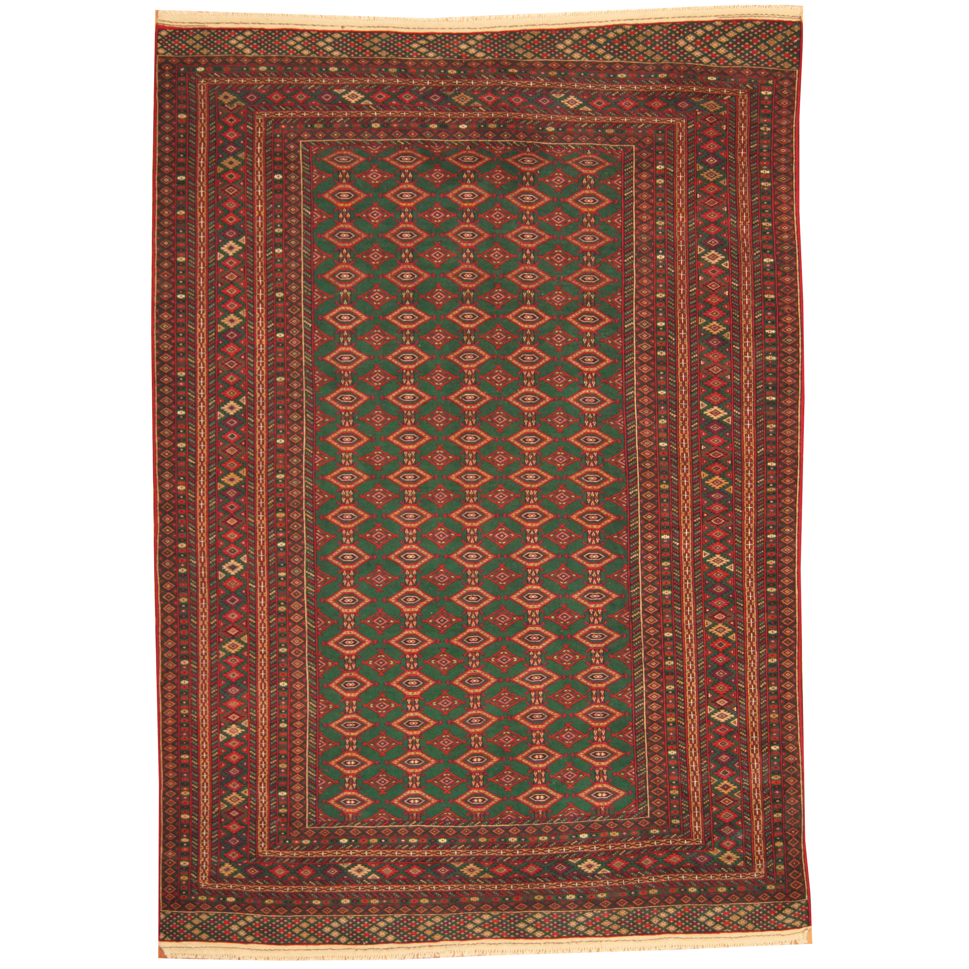 Herat Oriental Afghan Tribal Turkoman Hand Knotted Green Red Area